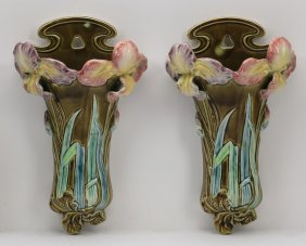 "(3) Majolica Floral Wall Pockets, 12""h"