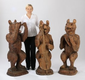 (3) Black Forest Carved Musical Bears