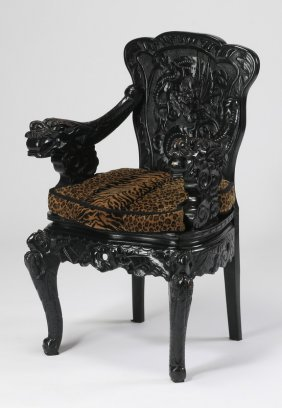 Chinese Armchair With Carved Dragon Motif