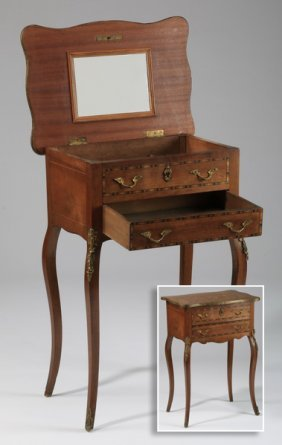 French Marquetry Inlaid Vanity Table