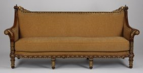 "Carved And Parcel Gilt Mahogany Sofa, 85""l"