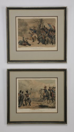 (2) 19th C. Engravings, Napoleon In Battle