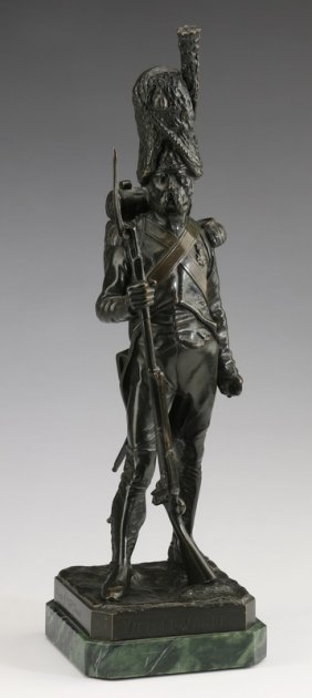 "19th C. Bronze Of Napoleon's Old Guard, 16""h"