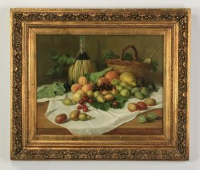 Continental O/c Still Life With Fruit, 19th C
