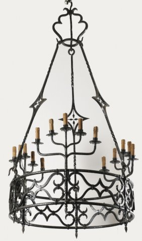 French Wrought Iron Gothic Revival Chandelier