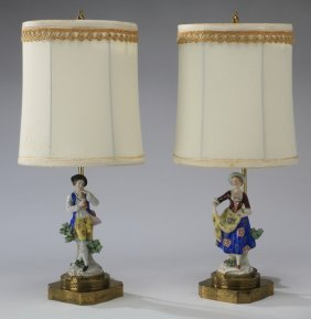 (2) 19th C. Dresden Style Figural Table Lamps