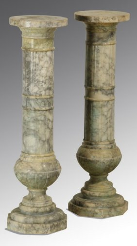 (2) 19th C. Italian Carrara Marble Pedestals