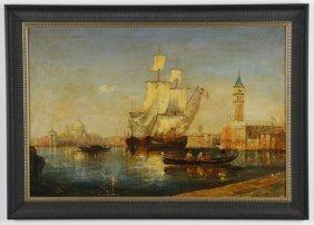 Early 20th C. Oil On Canvas Venetian Scene