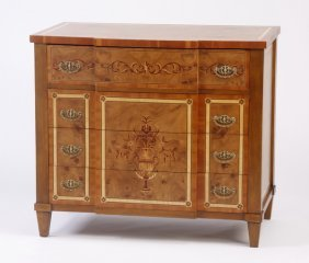 Inlaid Burl Wood Chest Of Drawers