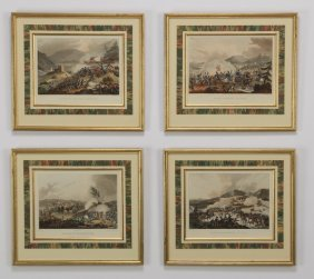 4 Hand Colored Napoleonic Engravings, 19th C.