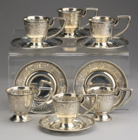 (6) Sterling Silver Demitasse Cups, Saucers