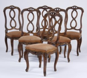 (6) 19th C. French Carved Walnut Chairs