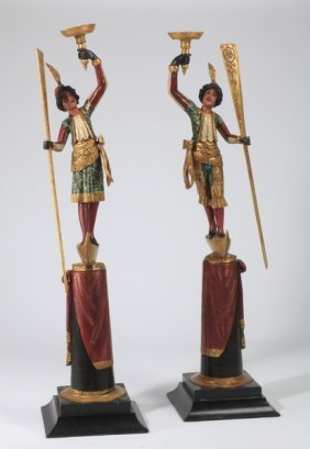 "(2) Early 20th C. Venetian Figures, 96""h"