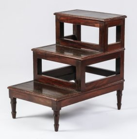 "19th C. Georgian Style Library Steps, 27""h"