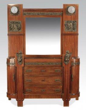 Italian Mahogany Marble Top Dresser, C. 1910