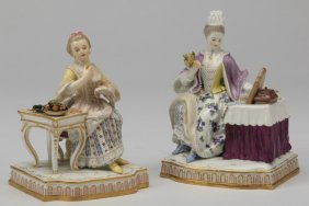 "(2) Meissen Figurines, 19th C. Marked, 6""h"