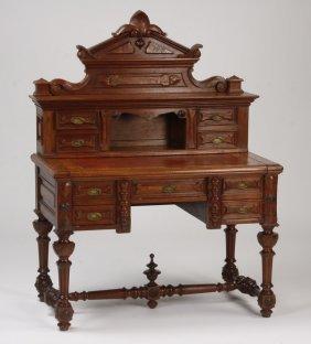 19th C. Carved Walnut Desk