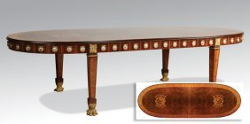 Italian Marquetry Inlaid Dining Table