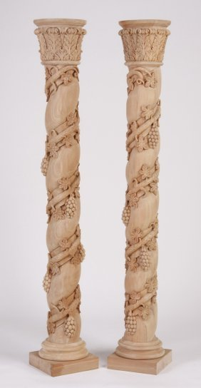 "(2) 80""h Unfinished Solid Mahogany Columns"