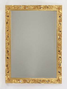 Italian Carved Gilt Wood Beveled Glass Mirror