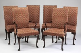 (6) Upholstered Queen Anne Style Chairs