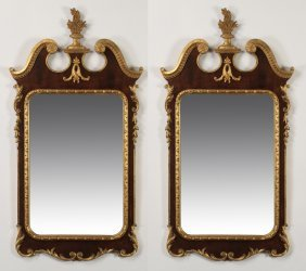 (2) Italian Carved And Parcel Gilt Mirrors
