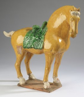 "Chinese Tang-style Sancai Glazed Horse, 17""h"