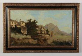 Early 20th C. O/c Italian Mountain Lake Scene