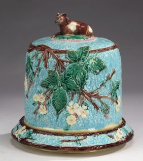 "English Majolica Cheese Dome, Cow Finial 12""h"