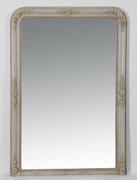 "58""h French Carved And Paint Decorated Mirror"