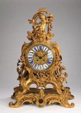 "Louis Xv Style Gilt Bronze Mantel Clock, 25""h"