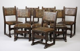 (8) 19th C. Italian Chairs In Tooled Leather