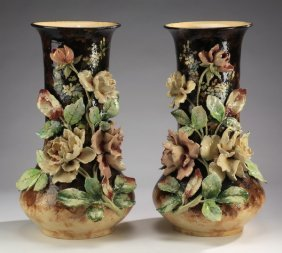 "(2) Oversized French Barbotine Vases 22.5""h"