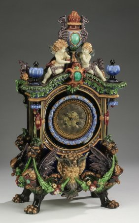 Hugo Lonitz & Japy Frres Majolica Clock