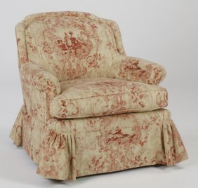 Custom Designed Armchair In Toile Fabric