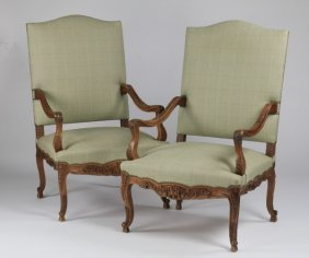 (2) Carved French Louis Xiv-style Armchairs