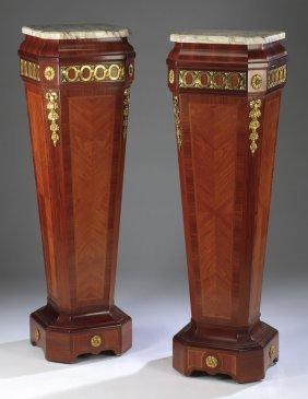 (2) Parquetry And Ormolu Pedestals, 19th C.