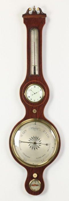 19th C. English Barometer, Thermometer, Clock