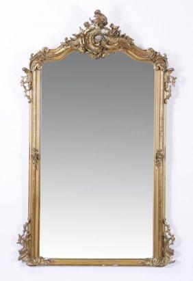 "19th C. French Rococo Giltwood Mirror, 58""h"