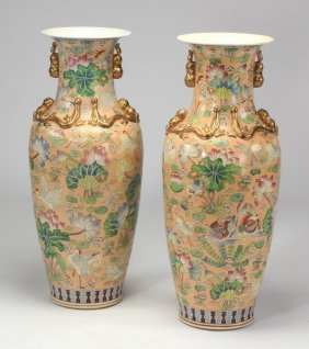 "Pair Of Tall Chinese Floor Vases, 37""h"
