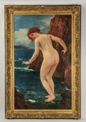 "Monumental Signed O/c Nude Bather, 84""h"
