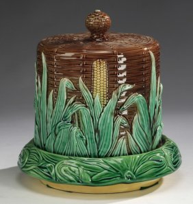 "Basket & Corn Majolica Cheese Dome, 11""h"