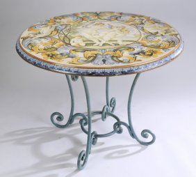 "Italian Majolica Table, 38"" Diam"