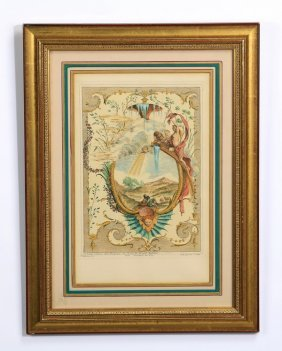 "19th C. French Hand Colored Engraving, 19""h"