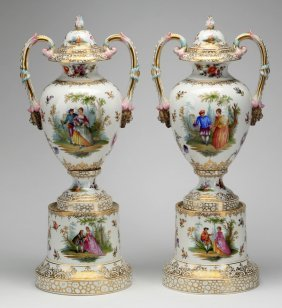 (2) Dresden Porcelain Urns, Marked, Ca. 1900