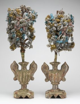 "19th C. Venetian Glass Bead Topiaries, 24""h"