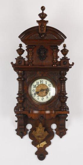 19th C. German Carved Walnut Wall Clock