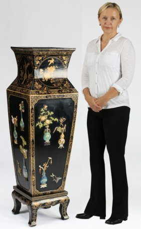 """Chinese Lacquer, Cloisonne Floor Vase, 58""""h"""