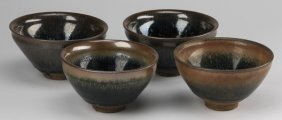 """(4) Chinese Hare's Fur Tea Bowls, 3""""h"""
