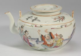 Chinese Porcelain Teapot, Eight Immortals